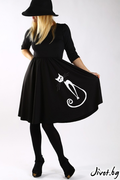 Черна клоширана рокля с апликация бяла котка / Бари Сарвари за MUSE SHOP