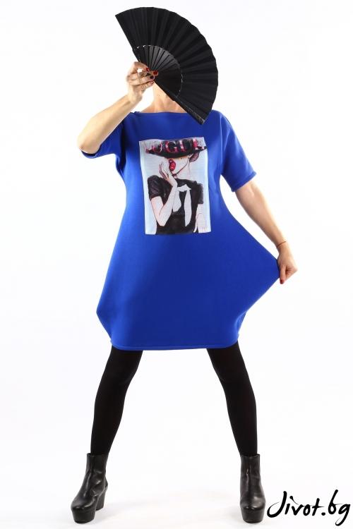 Синя ватирана туника с красива щампа / VЯRA за MUSE SHOP