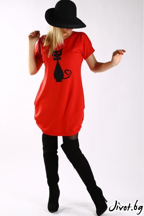 Червена туника с апликация черна котка / Бари Сарвари за MUSE SHOP