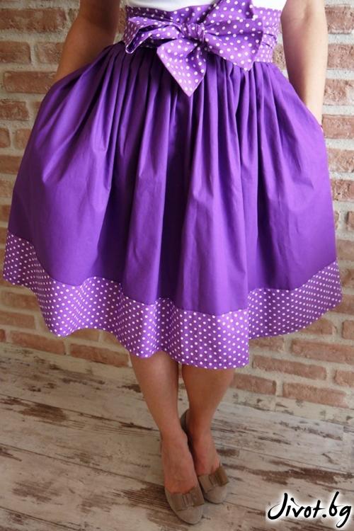 Дамска лилава пола с дълъг колан от плат и скрити джобове / Свeтла Ангелова за MUSE SHOP