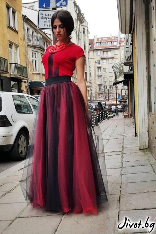 Дълга пола от червен и черен тюл с ластик на талията / VERNE