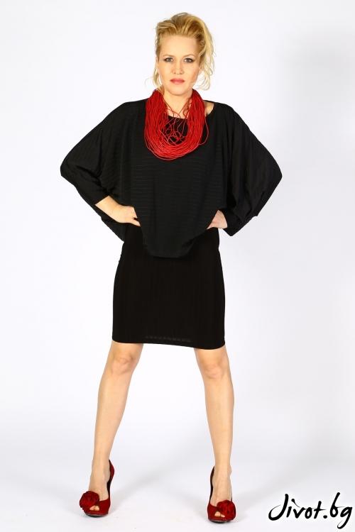Комплект дамска пола с блуза в черно / VESTITI