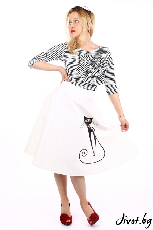 Дамска клоширана пола с ръчно рисувана котка / SHOP MY J