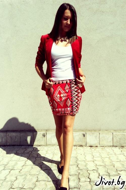 Къса дамска пола Африка с ластик на талията от памучно трико / Mina Goleva