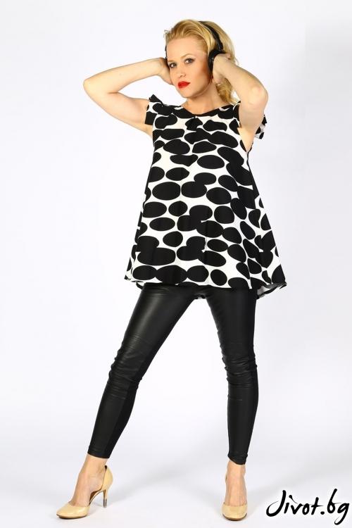 Черно бяла блуза/туника със закачливи ръкави / LALLA