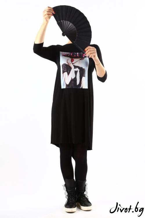 Черна туника/рокля със щампа и разкошен гръб / VЯRA за MUSE SHOP