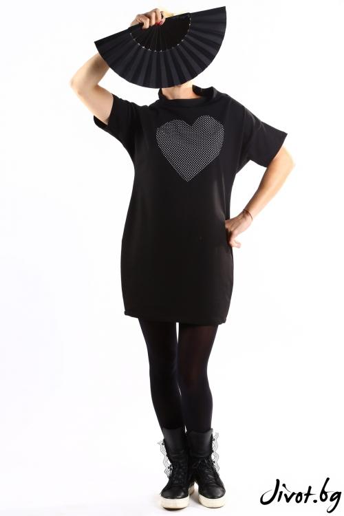 Черна дамска туника с пепитено сърце / VЯRA за MUSE SHOP