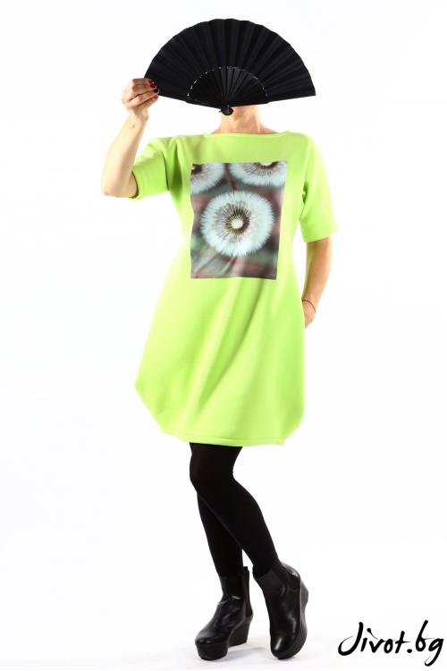 Красива зелена туника с принт на глухарчета / VЯRA за MUSE SHOP