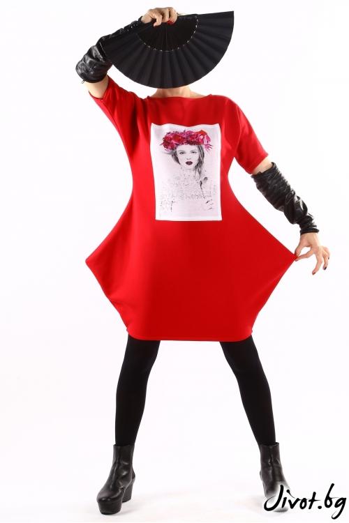 Червена дамска ватирана туника със щампа / VЯRA за MUSE SHOP