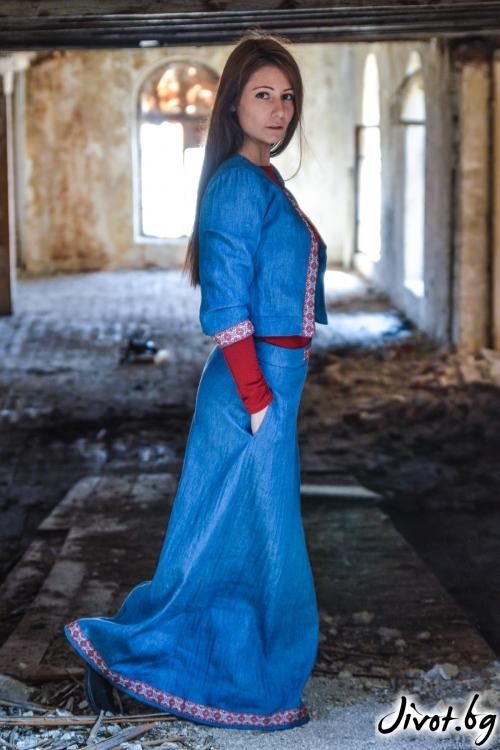 Дълга дамска пола от деним / ALENIA