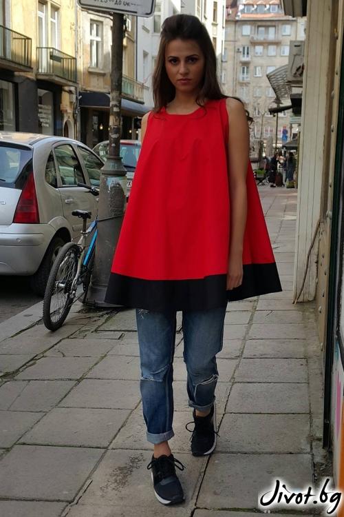 Червена туника без ръкави / Свeтла Ангелова за MUSE SHOP