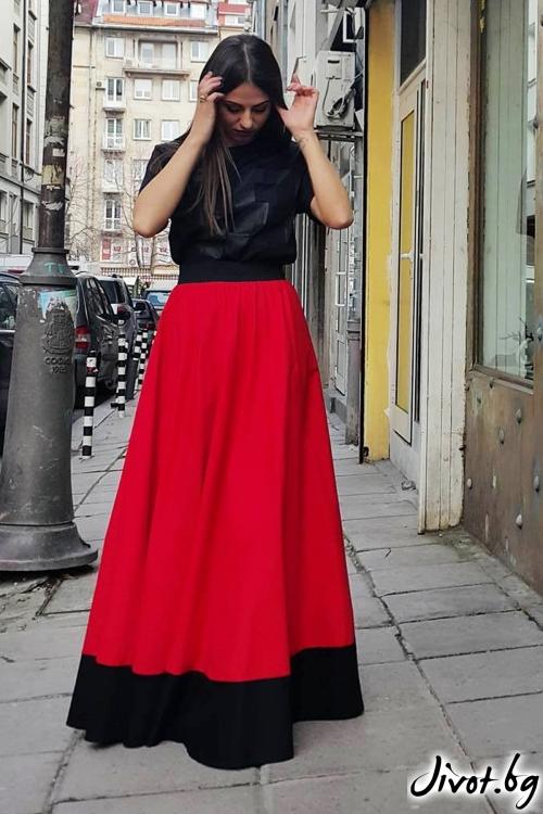 Дълга червена пола с черен кант / Свeтла Ангелова за MUSE SHOP
