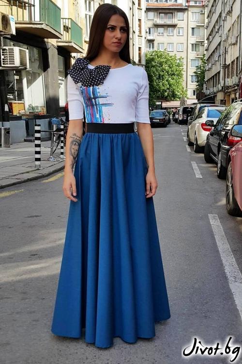 Дълга синя пола с ластик на талията / Свeтла Ангелова за MUSE SHOP