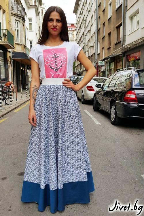 Дълга пола с флорален десен и син кант / Свeтла Ангелова за MUSE SHOP