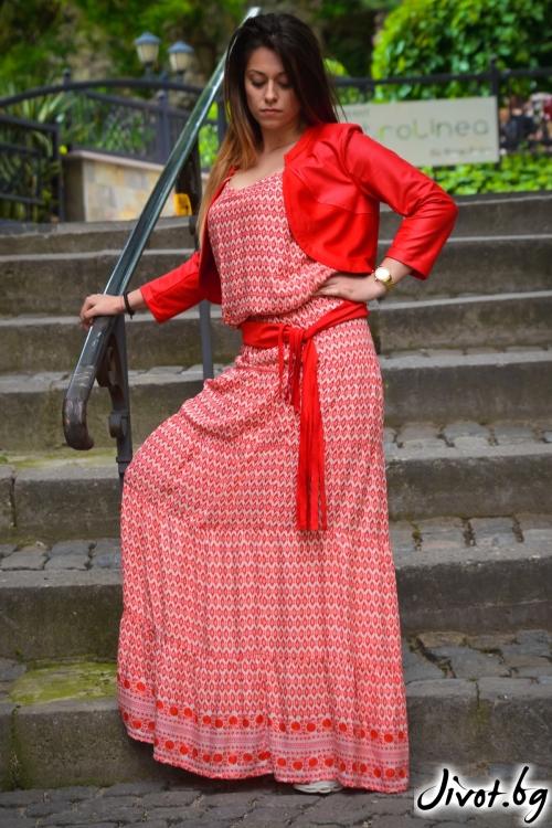 Елегантна дамска рокля с раие и цветя / АЛЕНИА