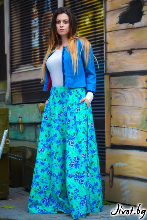 Дълга дамска пола на цветя със скрити джобове / ALENIA