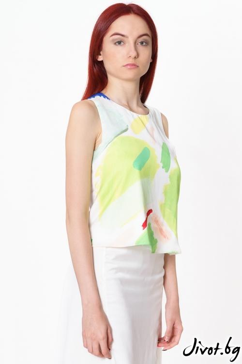 Копринена дамска блуза с дизайнерски принт Green Traces / Lila Style House