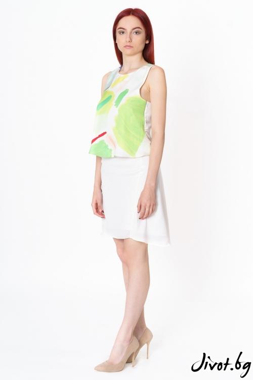 Дамски комплект блуза с пола от коприна Green Traces / Lila Style House