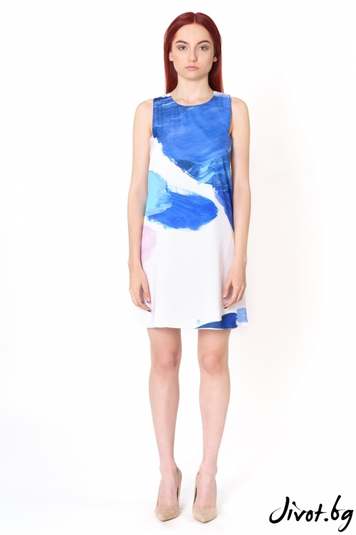 Къса копринена рокля Multicolor Traces/Lila Style House