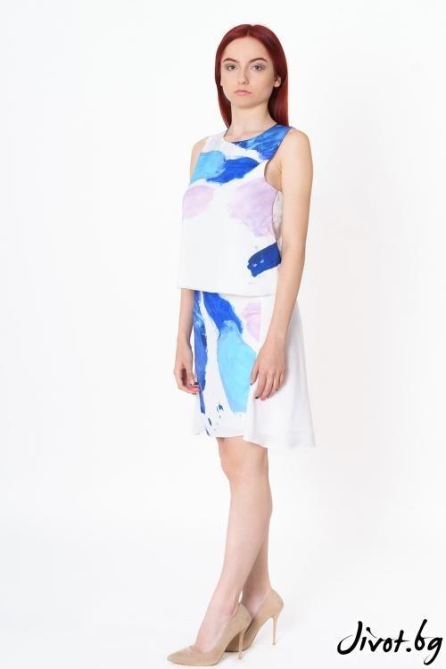 Къса дамска пола от коприна Multicolor Traces / Lila Style House
