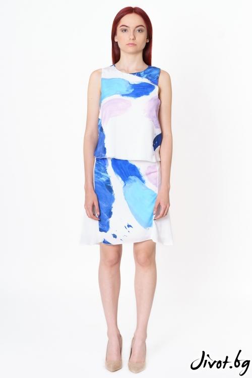 ДамДамски комплект блуза с пола от коприна Multicolor Traces / Lila Style House с пола от коприна Green Traces / Lila Style Hous