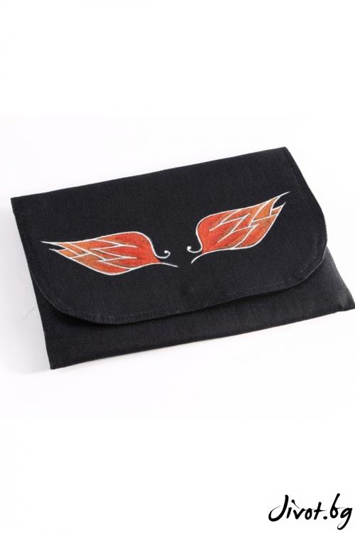 """Дамска чанта-плик с оранжеви крила и брокат серия """"Крилата на Икар"""""""