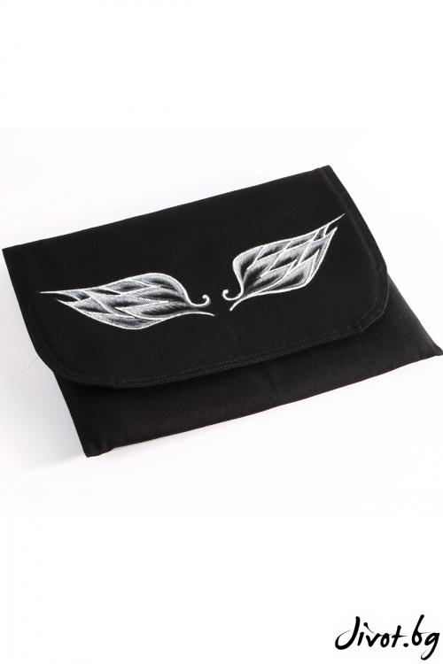"""Дамска чанта-плик """"Крилата на Икар"""" в бяло"""