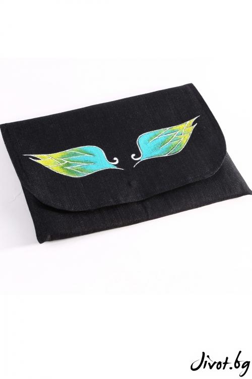 """Дамска чанта-плик """"Крилата на Икар"""" в синьо зелен цвят"""