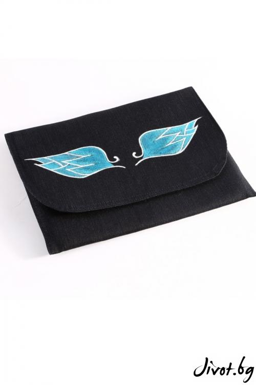 """Дамска чанта-плик """"Крилата на Икар"""" с тюркоазени крила"""