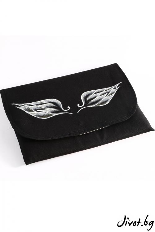 """Дамска чанта-плик """"Крилата на Икар"""" в бяло с брокат"""