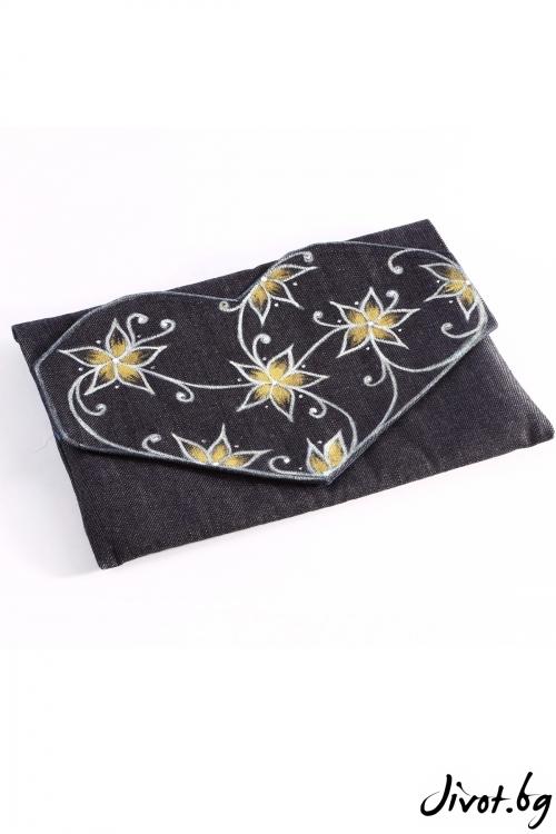 """Чанта плик от дени """"Приказна градина"""" със жълти цветя"""