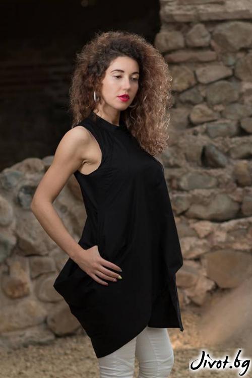 Черна асиметрична риза / GUGOSHEVA