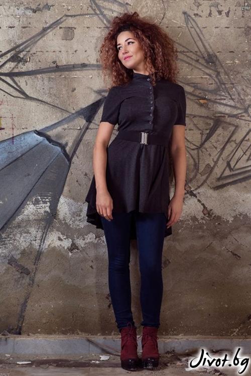 Дамска черна риза с къси ръкави / GUGOSHEVA
