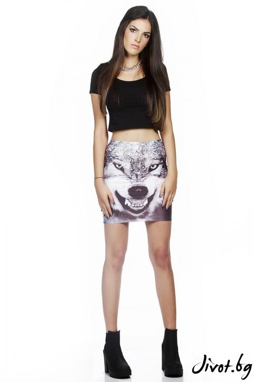 Дамска къса пола с принт Wolf