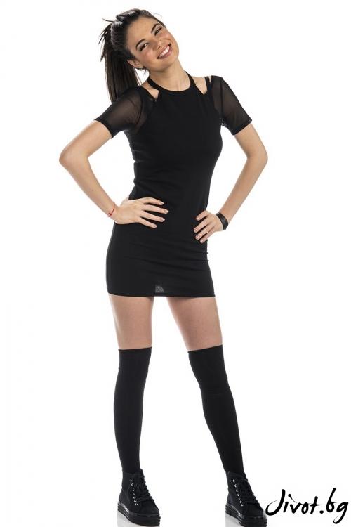Черна къса рокля с мрежа Charmy me / FOX IN A BOX