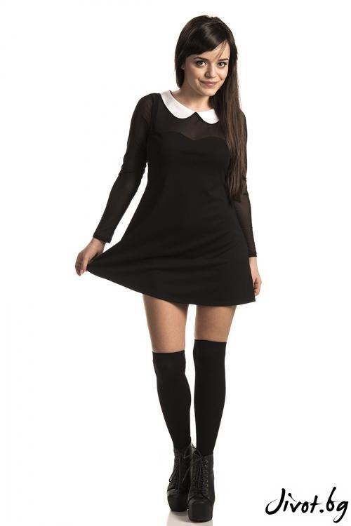 Черна къса рокля с яка / FOX IN A BOX