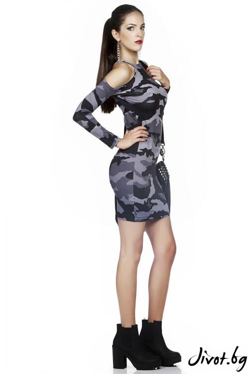 Дамска къса рокля в черно и сиво Military Grey / FOX IN A BOX