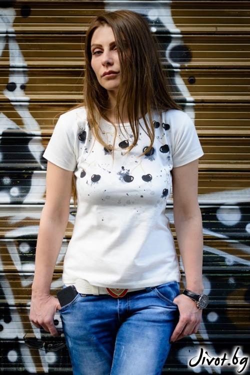 Дамска тениска с къс ръкав Черешки / Décollage