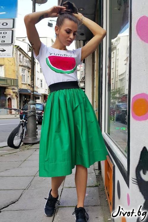 Зелена пола с ластик на талията / VERNE