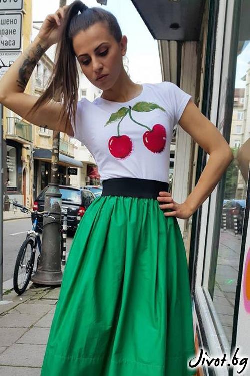 Дамска тениска с черешки