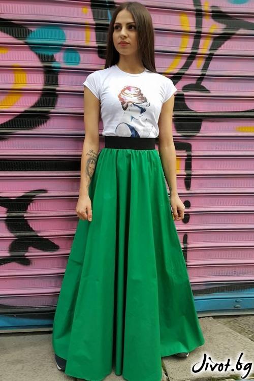 Дълга зелена пола с ластик на талията / VERNE