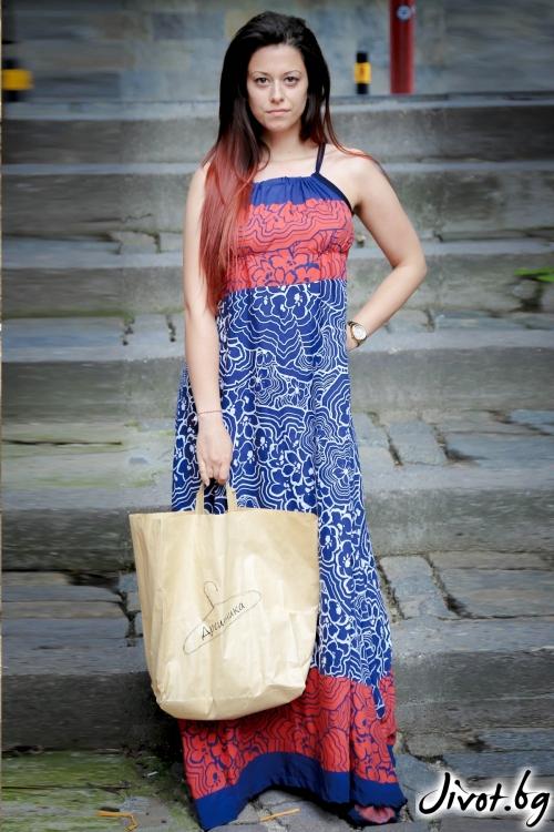 Дълга дамска рокля в червено и синьо / ALENIA