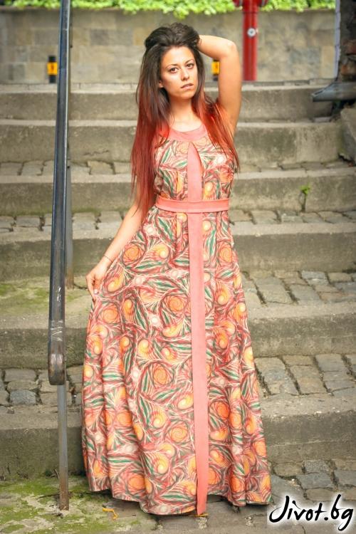 Дълга дамска рокля с елементи от велур / ALENIA