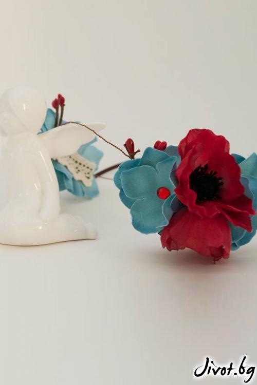 """Диадема от копринени макове,листенца хортензия и памучна дантела """"Poppies""""/Forget-me-not"""
