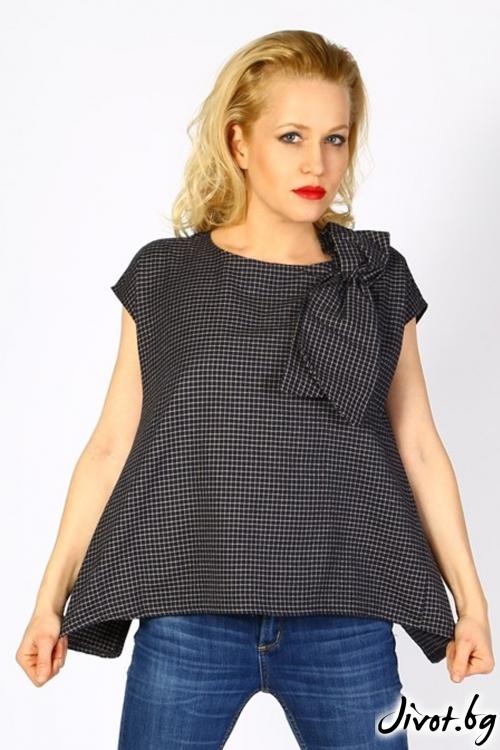 Дамска блуза на черно-бяло каре с панделка / LALLA
