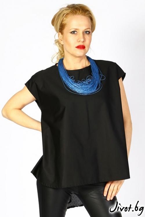 Дамска черна асиметрична туника с точки на гърба от сатениран памук/ LALLA