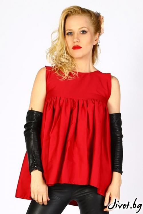 Червена блуза/туника с ефектен набор / LALLA