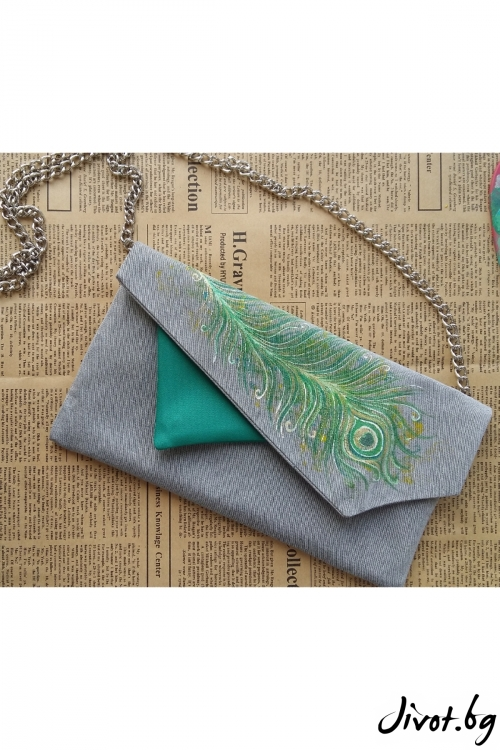 Дамска чанта-плик с перо