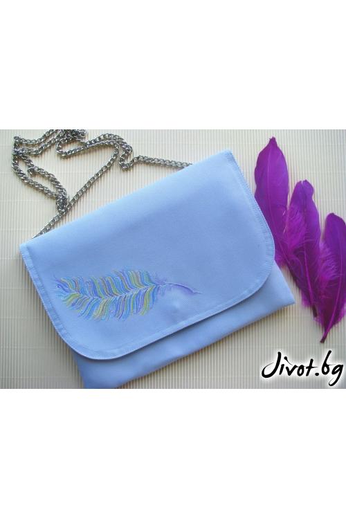 Дамска чанта плик с ръчно рисувано пауново перо