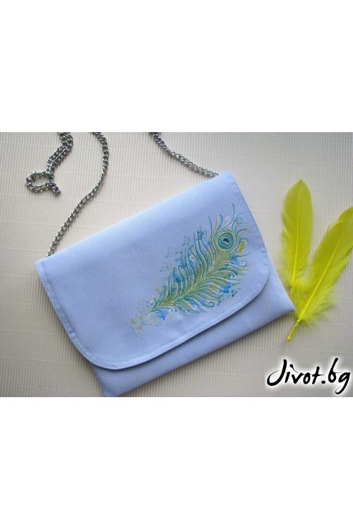 Дамска чанта портомоне от деним с пауново перо